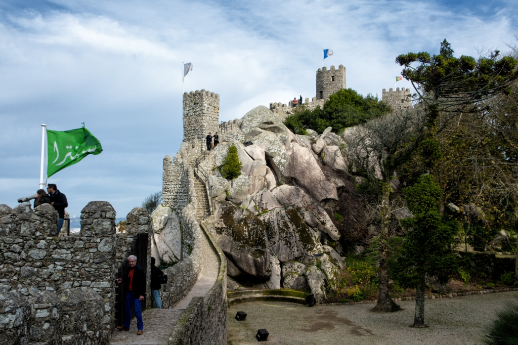 Tourists climb the ramparts of Castelo dos Mouros.