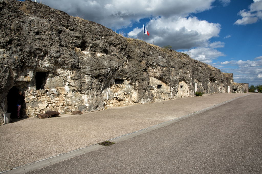 The facade of Fort Douamont shows damage from the heavy bombardments.