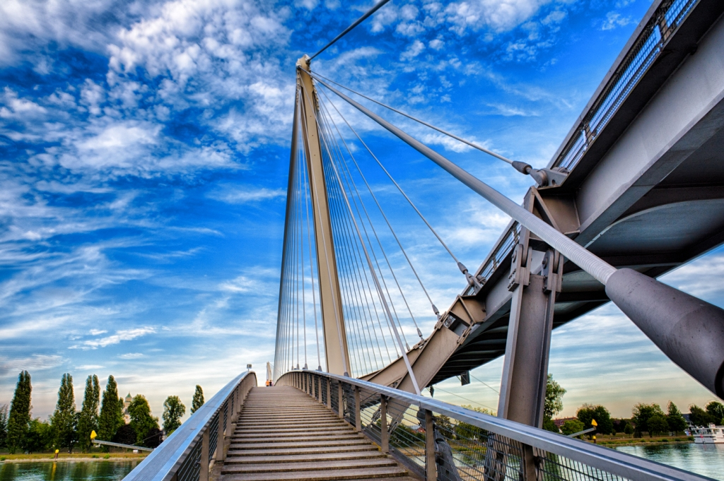 A pedestrian bridge near Strasbourg crosses the Rhine linking Germany to France.