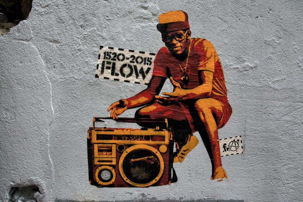A stencil in Barrio Alto