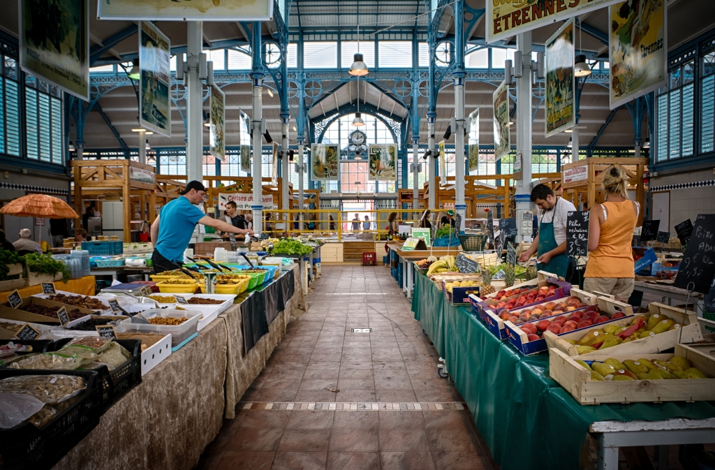 Inside Chaumont's covered market