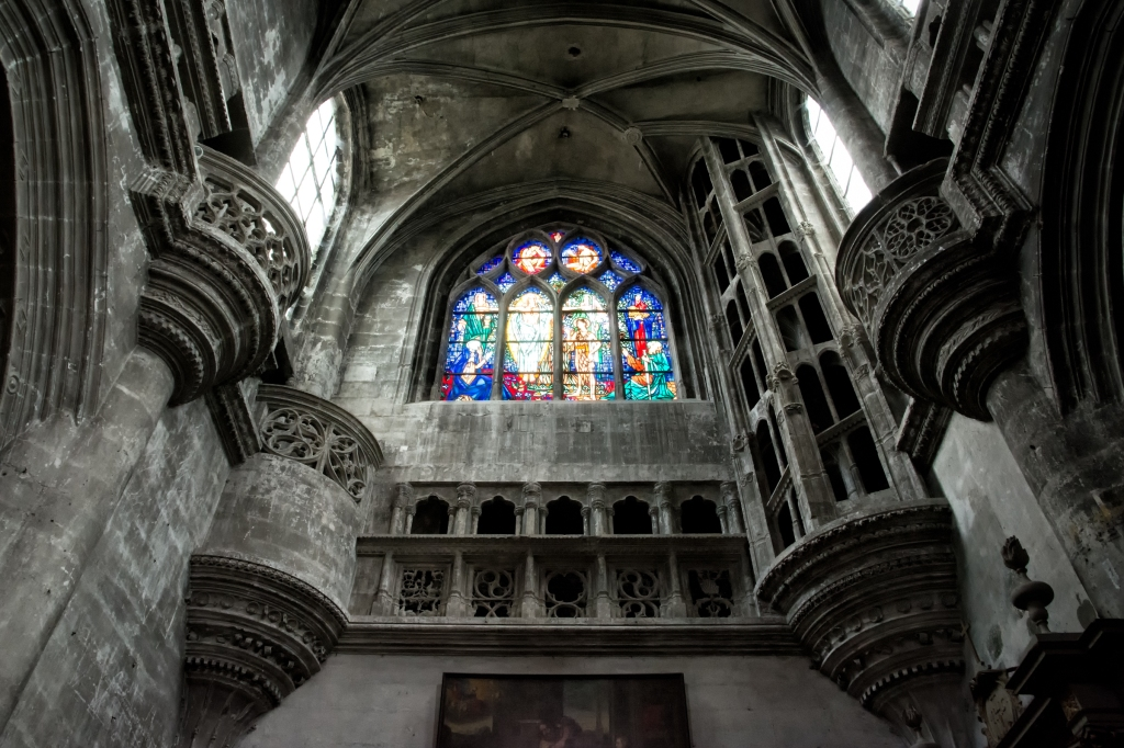 Stained glass inside Chaumont's basilica