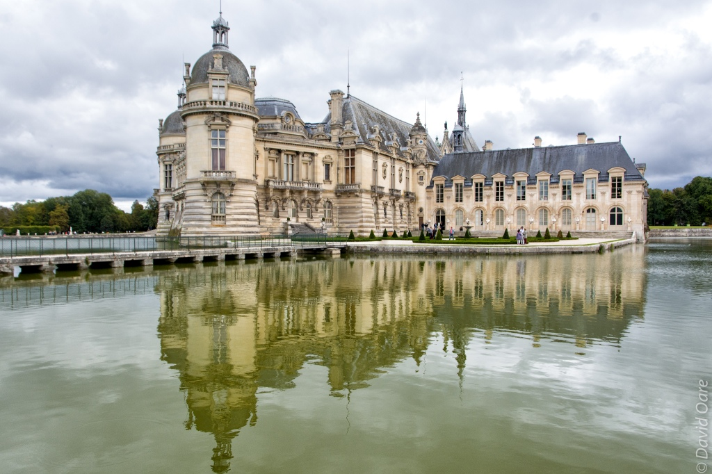On a calm day the water reflects the château.